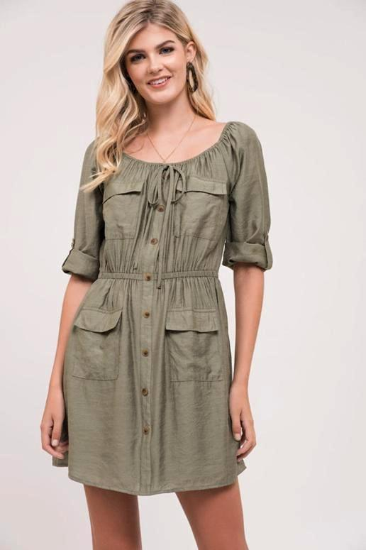 Blu Pepper American Doll Pockets Shirt Dress - Olive