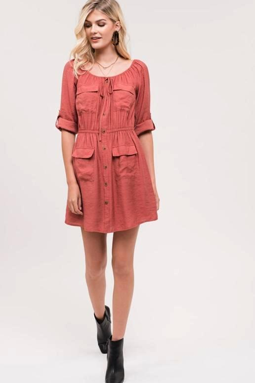Blu Pepper American Doll Pockets Shirt Dress - Sienna