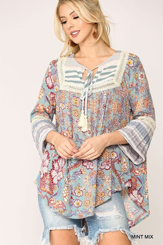 Stripe/Floral Peasant Top - Floral Mix
