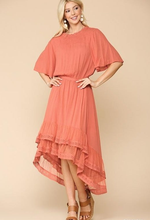 Hi Lo Dress w/Lace Hem - Salmon