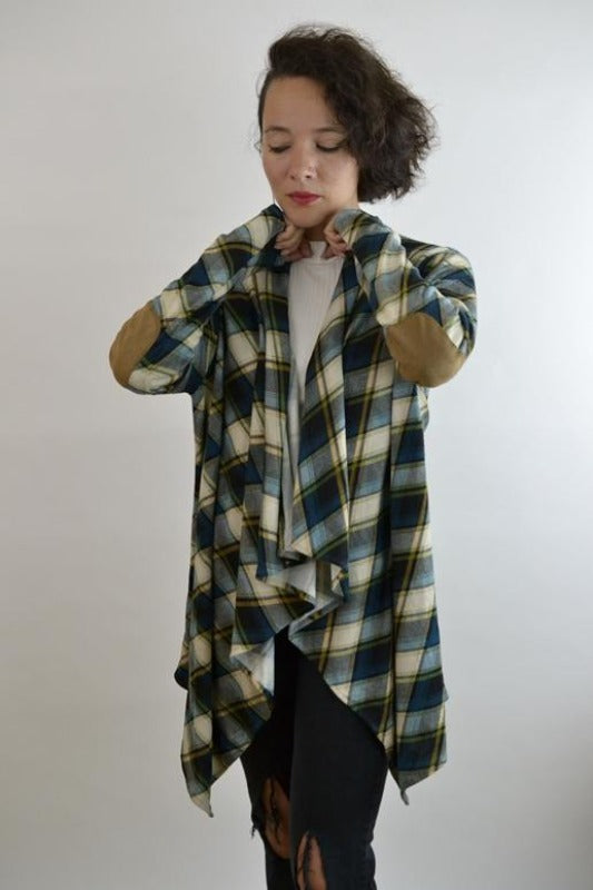 Kori Plaid Elbow Patch Cardigan - Teal Duck Blue