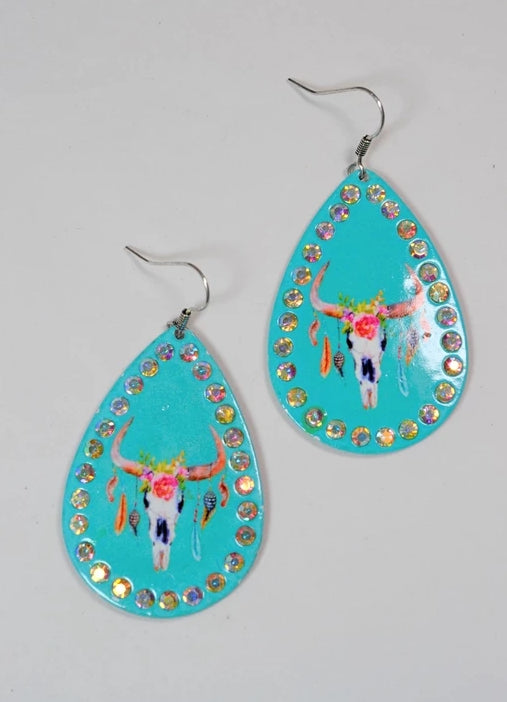Turquoise Bull Skull Rhinestones Western Earrings