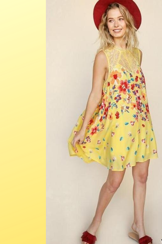 Umgee Floral Extravaganza Dress - Yellow