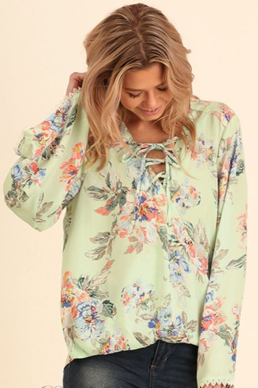Umgee Floral Lace Up Blouse - Mint