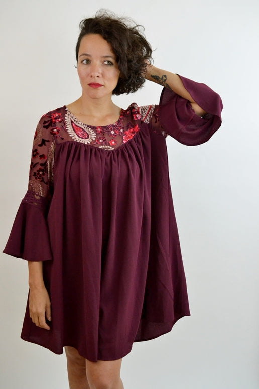 Umgee Paisley Velvet Yoke Dress - Wine