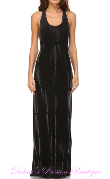 Urban X Cross Back Two Tone Maxi Dress- Black Maho