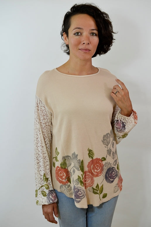 T Party Artsy Lace Thermal Top - Dusty Rose