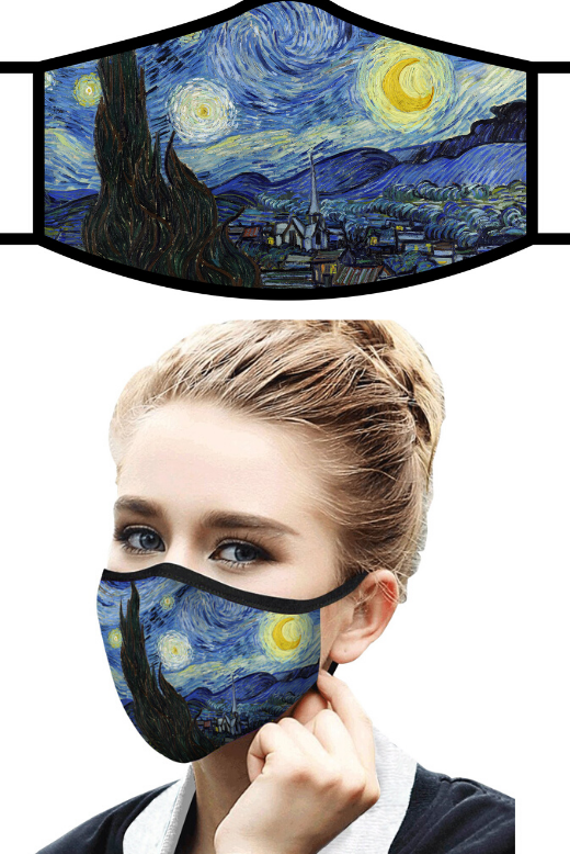 Rain Caper Starry Night Van Gogh Face Mask
