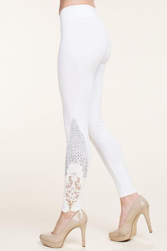 Vocal Classy Sleek Rhinestone Leggings - Off White - See Through