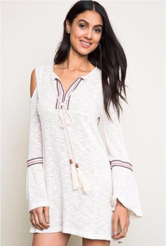 Sweet Adeline Hayden Cold Shoulder Boho Dress - Cream - Debra's Passion Boutique - 1