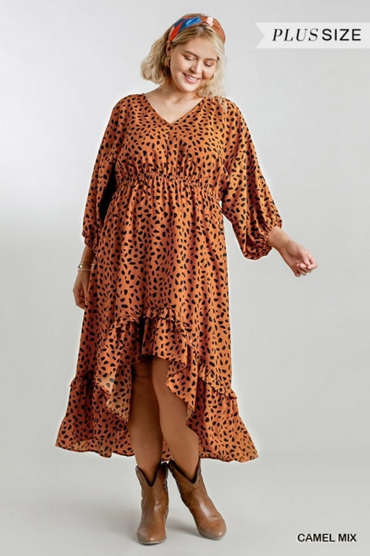 Dalmation Hi Lo Dress - Camel - Plus Size