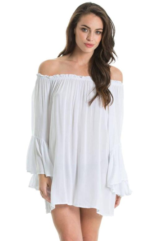 Elan Off Shoulder Bell Ruffle Sleeve Tunic Top-White
