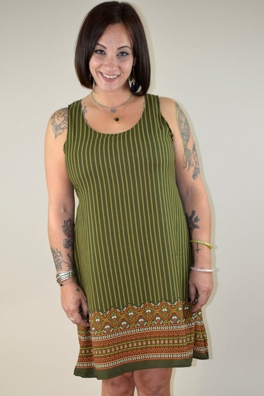 Yak & Yeti Border Dress - Green