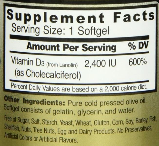 Healthy Origins Vitamin D 2,400 I.U. - 120 Softgels Supplement Facts