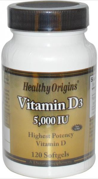 Healthy Origins Vitamin D 5,000 I.U. - 120 Softgels