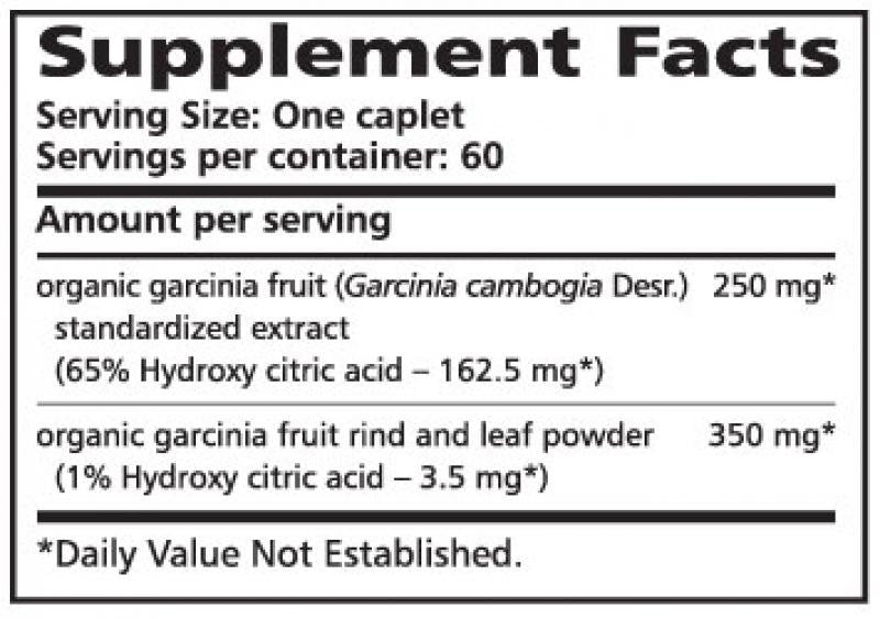Himalaya Garcinia - 60 Caplets Supplement Facts