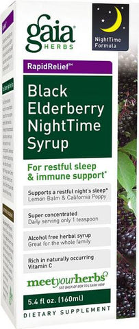 Gaia Black Elderberry Nighttime Syrup - 5.4 oz Liquid