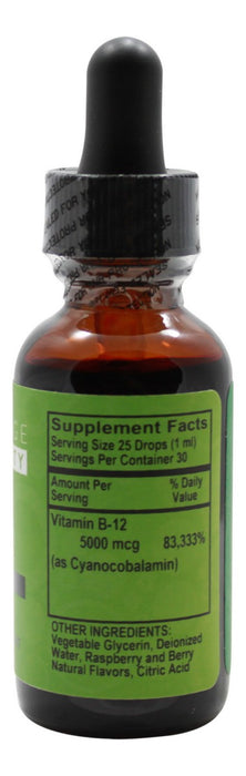 B12 5000 mcg Liquid Raspberry- 1 oz- Supplement Facts