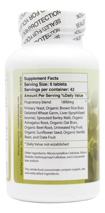 B Food Complex - 250 Tablets - Supplement Facts