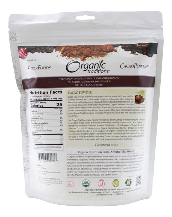 Cacao Powder - 16 oz - Supplement Facts