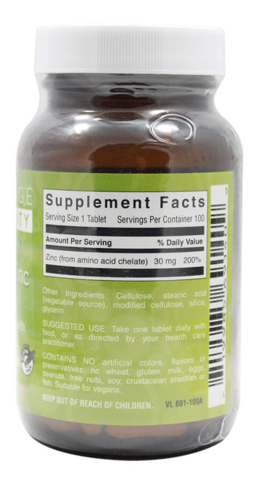 Chelated Zinc 30 mg - 100 Tablets - Supplement facts