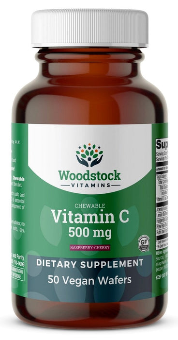 Chewable Vitamin C 500 mg Raspberry-Cherry Flavor - 50 Wafers