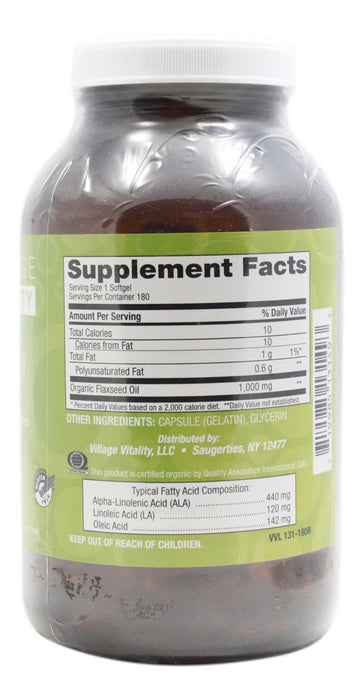 Flaxseed Oil 1,000mg - 180 Softgels - Supplement Facts