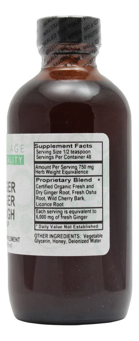 Ginger Zinger Cough Syrup - 4 oz Liquid - Supplement Facts