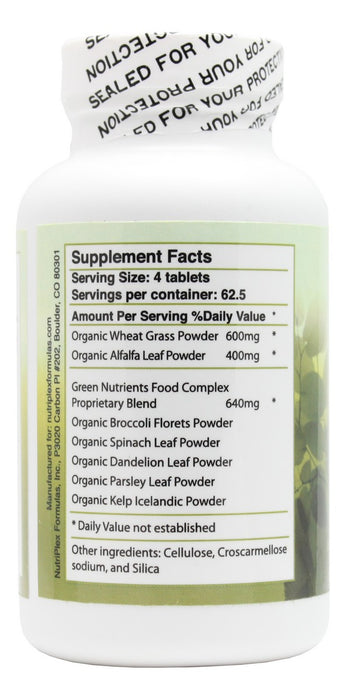 Green Nutrients - 250 Tablets - Supplement Facts