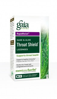 Gaia Throat Shield Sage and Aloe - 20 Lozenges