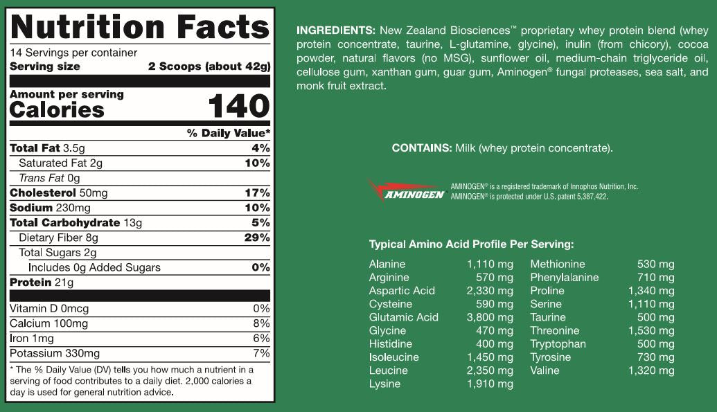 Grass Fed Whey Protein Chocolate - 20.74oz