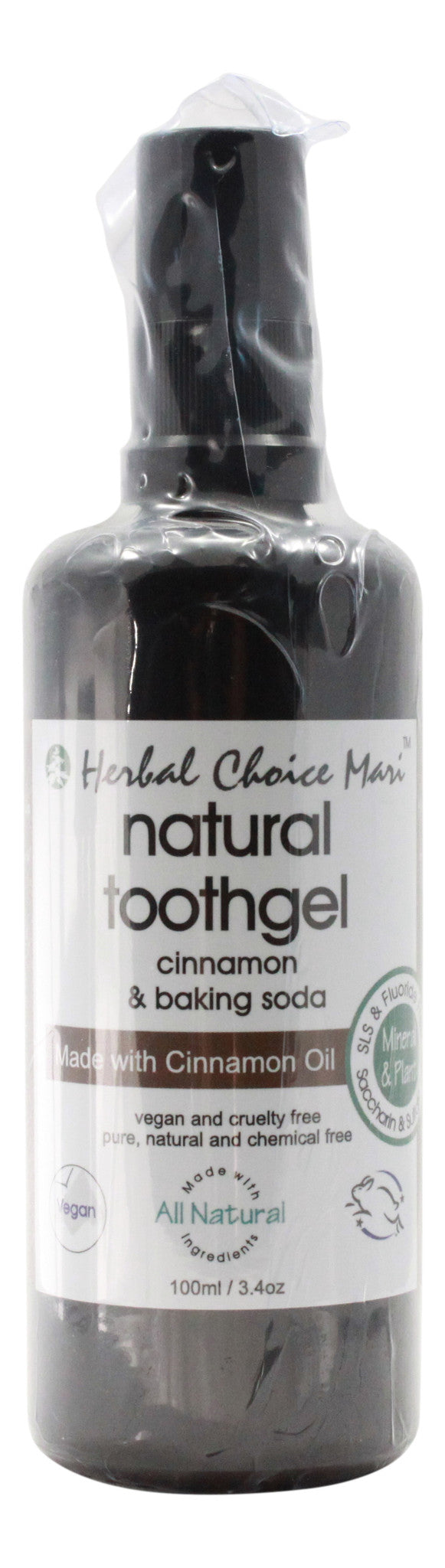 Natural Toothgel - Cinnamon & Baking Soda - 3.4 oz Bottle - Front