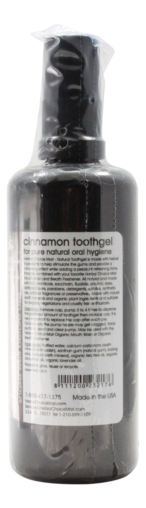 Natural Toothgel - Cinnamon & Baking Soda - 3.4 oz Bottle - Info