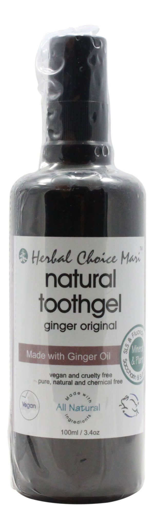 Natural Toothgel - Ginger Original - 3.4 oz Bottle - Front