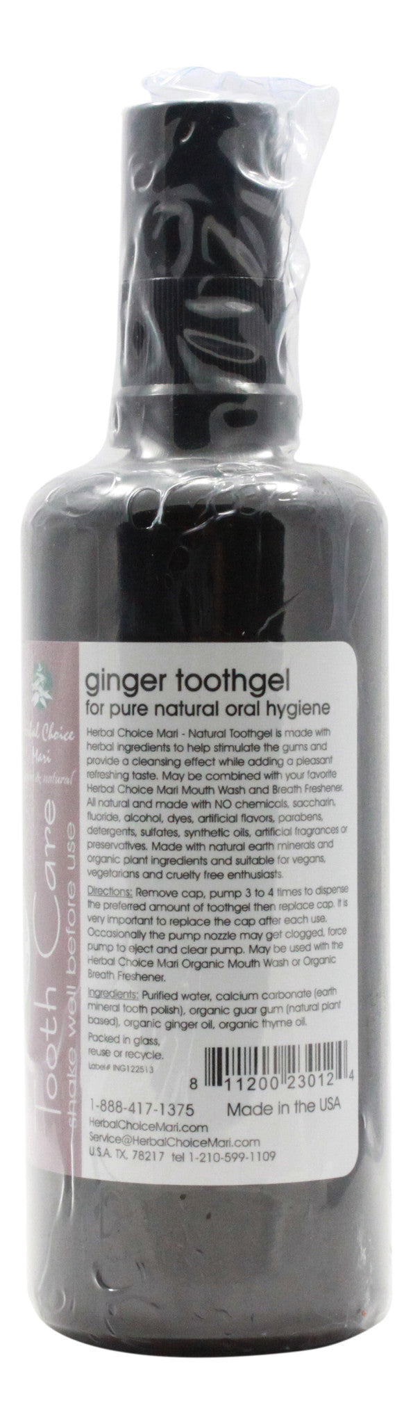 Natural Toothgel - Ginger Original - 3.4 oz Bottle - Info
