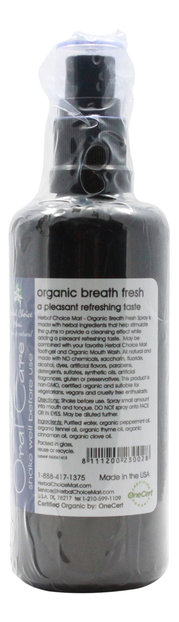 Organic Breath Fresh - Refreshing Taste - 3.4 oz Spray - Info