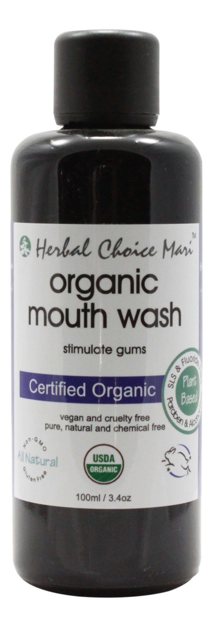 Organic Mouth Wash - 3.4 oz Bottle - Front