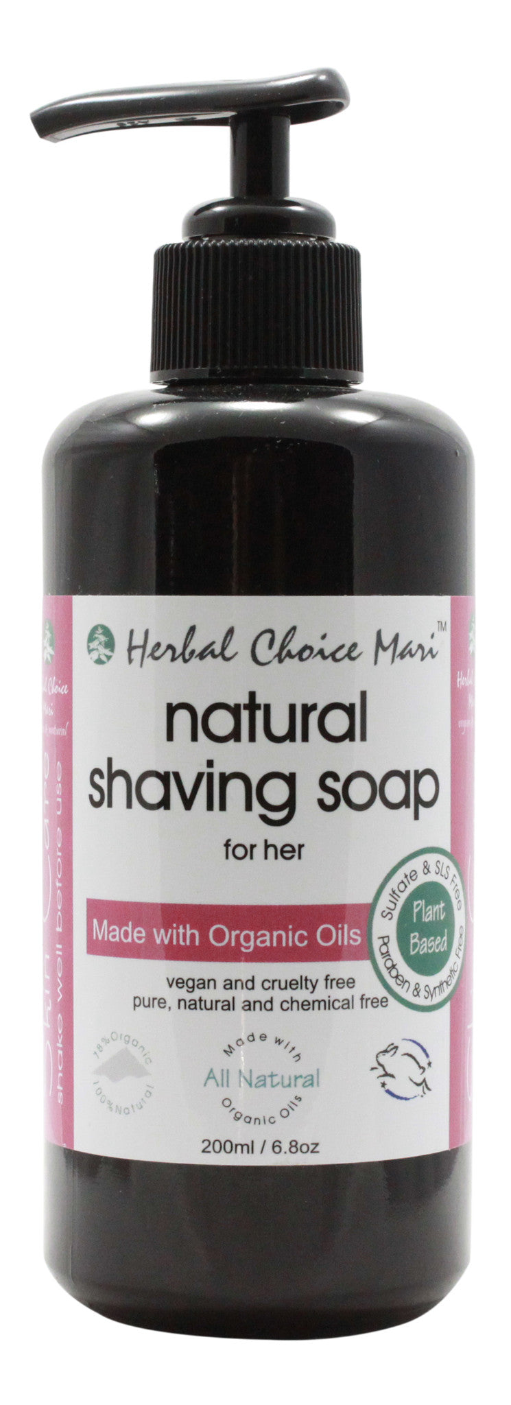 Natural Shaving Soap for Her - 6.8 oz Bottle - Front
