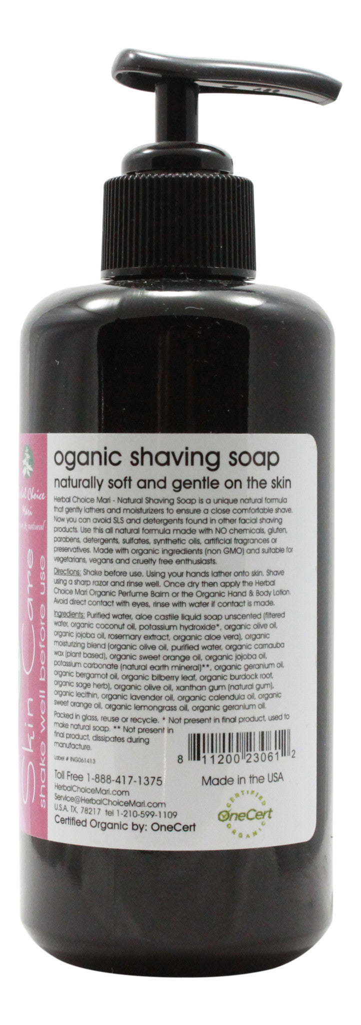 Natural Shaving Soap for Her - 6.8 oz Bottle - Info