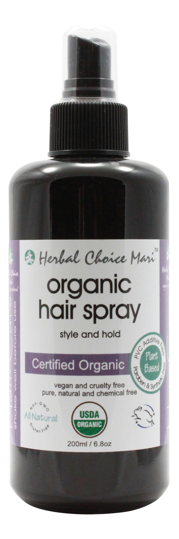 Organic Hair Spray - Style and Hold - 6.8 oz Bottle - Front