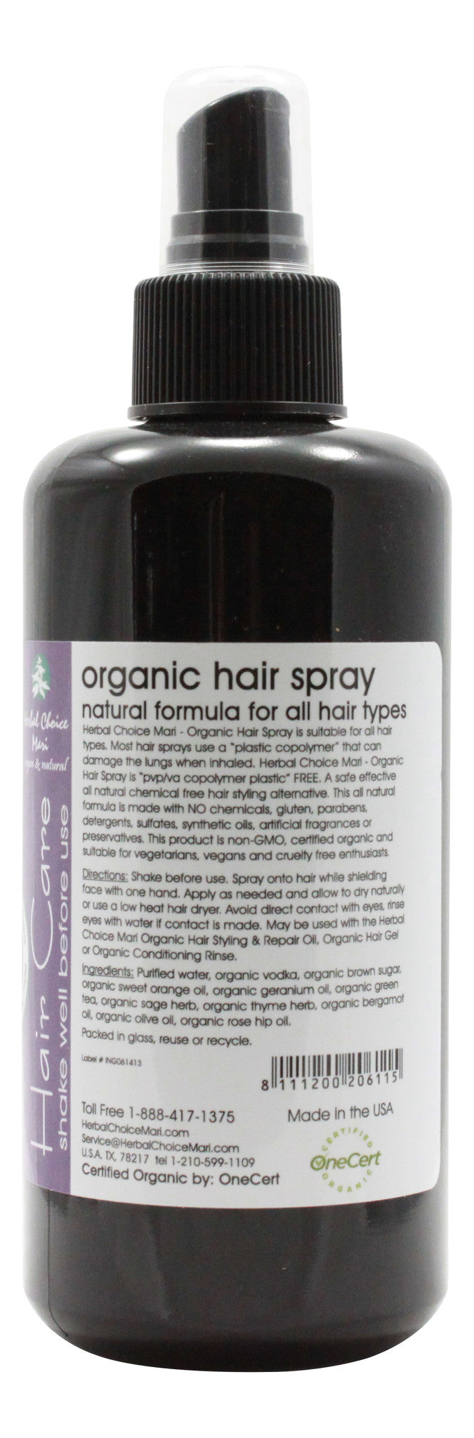 Organic Hair Spray - Style and Hold - 6.8 oz Bottle - Info