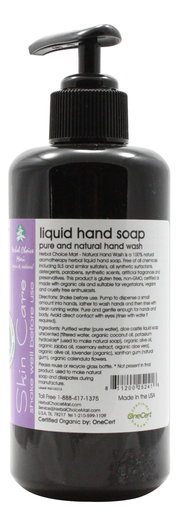 Natural Hand Wash - Lavender - 6.8 oz Bottle - Info