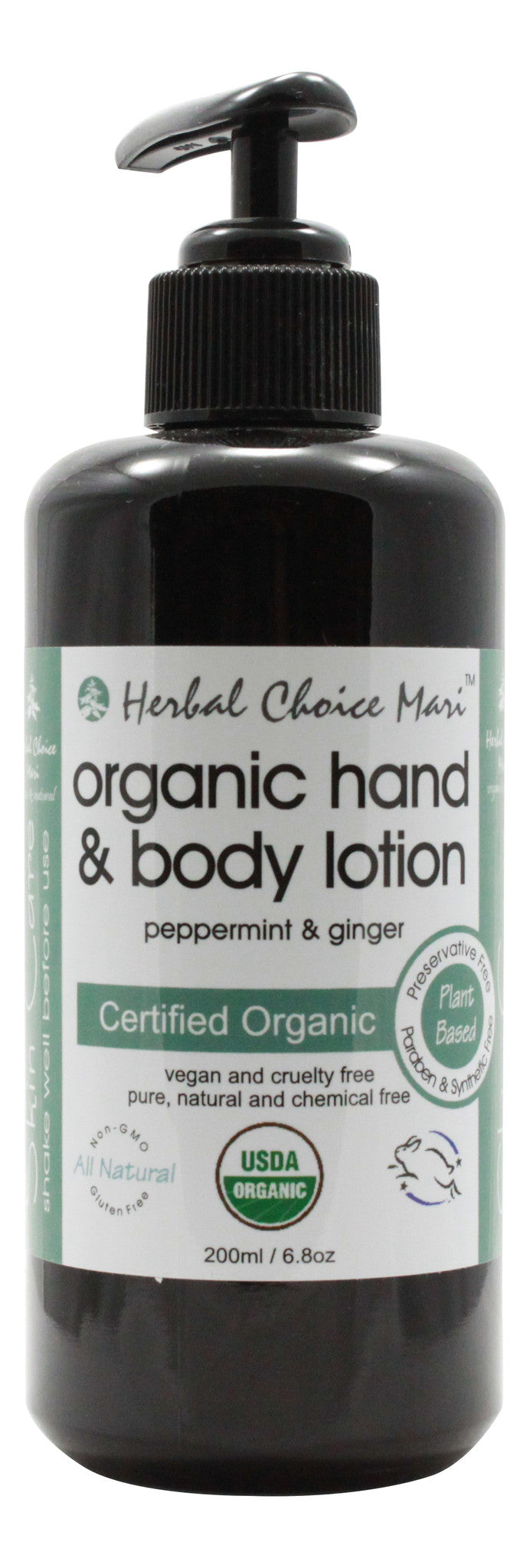 Organic Hand & Body Lotion - Peppermint & Ginger - 6.8 oz - Front