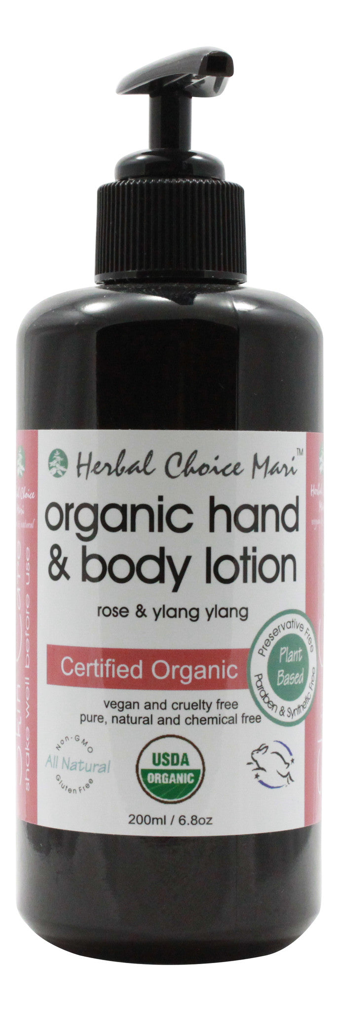 Organic Hand & Body Lotion - Rose & Y/Yang - 6.8 oz - Front