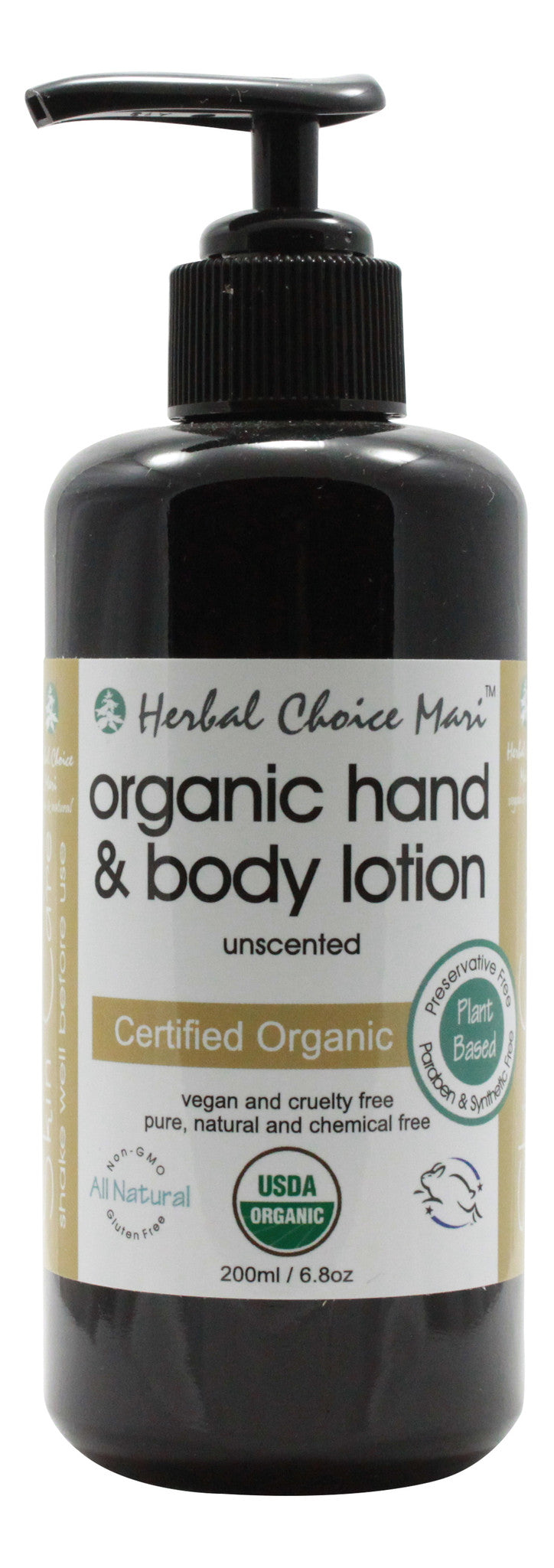 Organic Hand & Body Lotion - Unscented - 6.8 oz - Front
