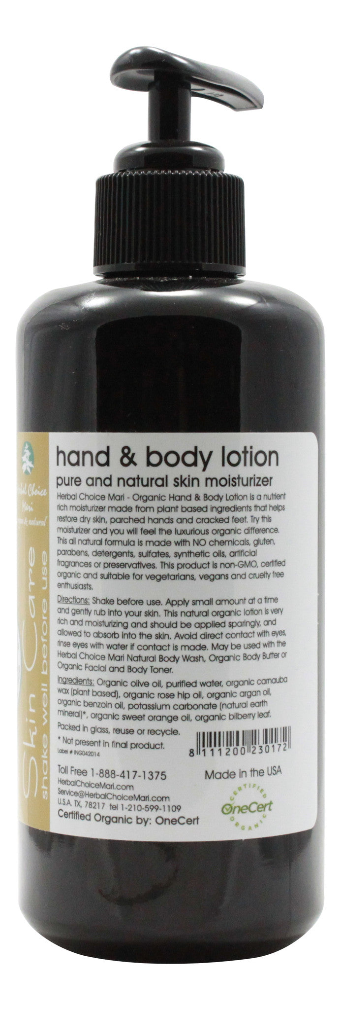 Organic Hand & Body Lotion - Unscented - 6.8 oz - Info