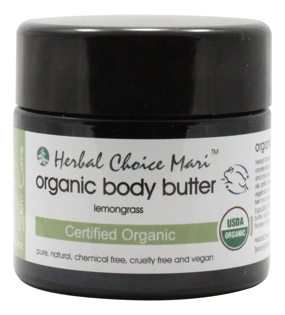 Organic Body Butter - Lemongrass - 3.4 oz Jar - Front