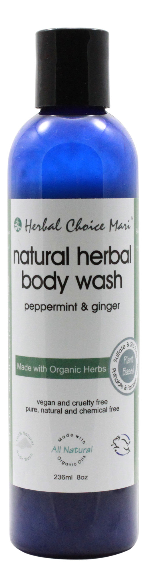 Natural Herbal Body Wash - Peppermint - 8 oz Bottle - Front