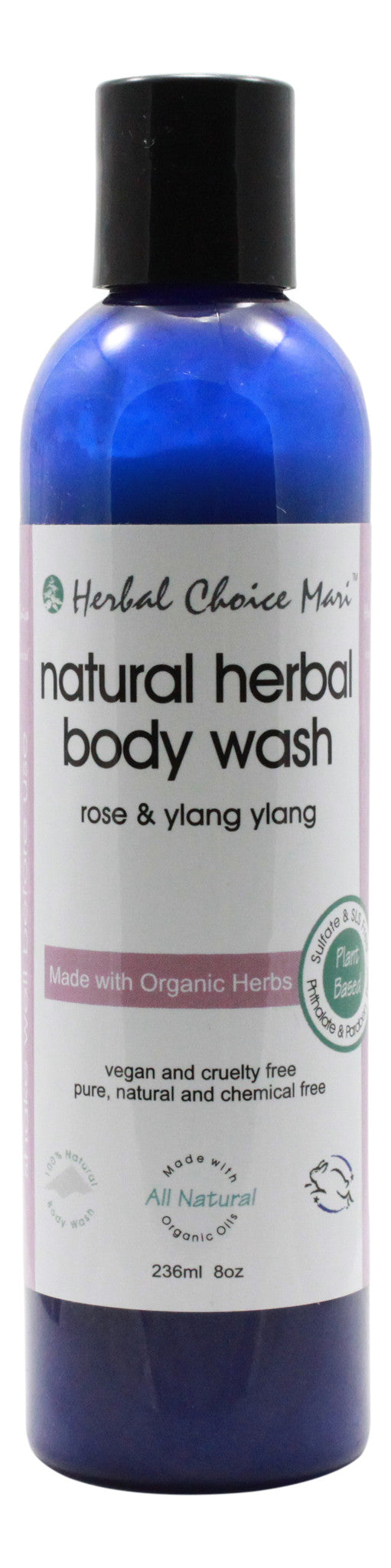 Natural Herbal Body Wash - Rose & Y/Yang - 8 oz Bottle - Front