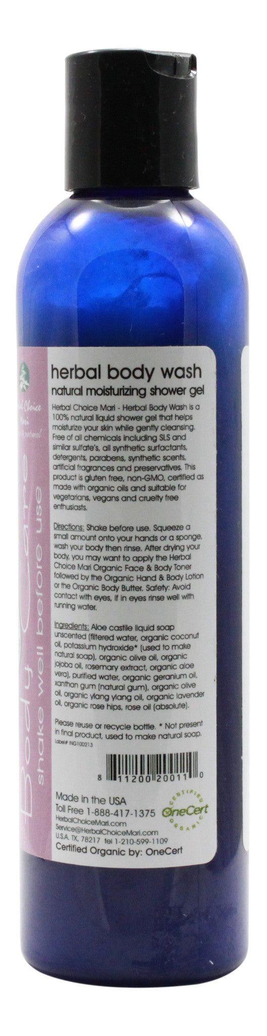 Natural Herbal Body Wash - Rose & Y/Yang - 8 oz Bottle - Info